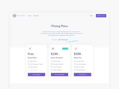 IndieMaker Pricing Table webdesign web pricing table pricing page website web design