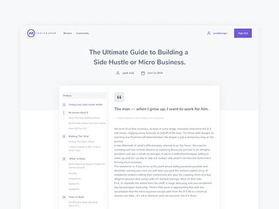 IndieMaker Blog Guide guide blog web design ui clean web design marketplace