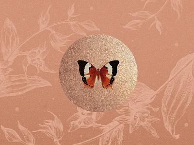 Papillon illustration texture nude botanical gold butterfly
