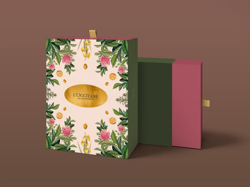 L'Occitane (Giftbox) n°2 packaging gold flowers illustration botanical gift box packaging design nature branding
