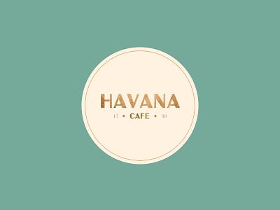 Havana Café coffee texture green gold typography logo branding