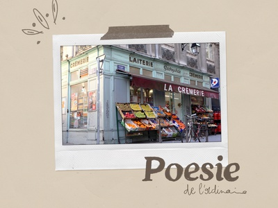 Poesie de l'ordinaire texture paper french vintage city artwork polaroid illustration
