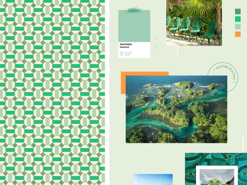 Green mood nature packaging tiles pattern moodboard logo branding green