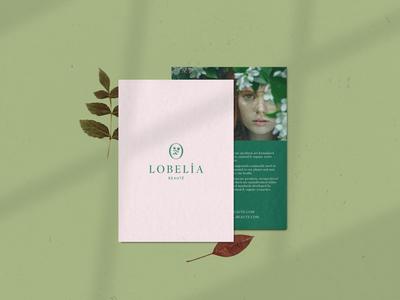 Lobelia card texture typography branding botanical nature green pink logo flowers