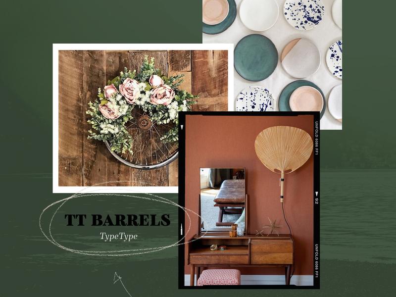 Tt Barrels typography texture nature green moodboard illustration branding