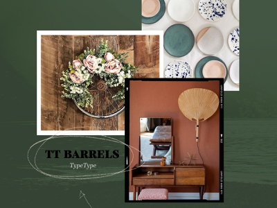 Tt Barrels typography texture nature green moodboard illustration branding