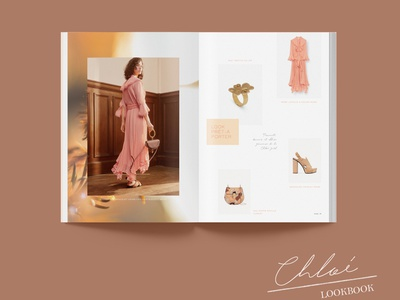 Chloe Lookbook indesign brochure feminine design feminine chloe flowers gold pink