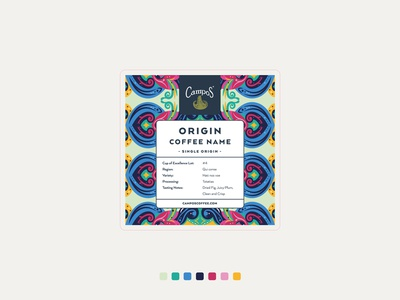 "Coffee pattern ""Costa Rica"" n°1 blue yellow pink coffee brand coffee bag etiquette packaging vibrant colors travel flowers branding illustration"