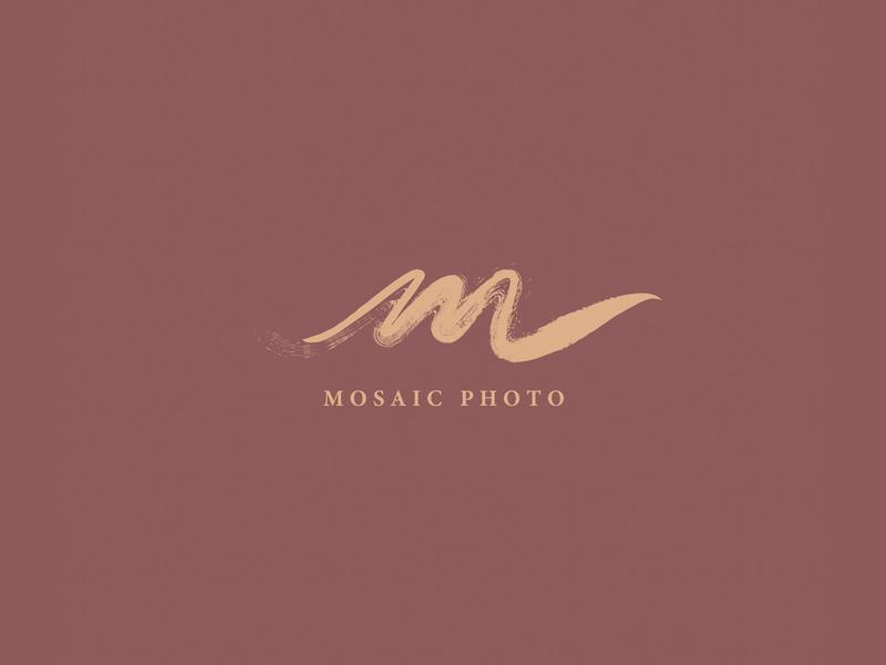 Mosaic Photo painting paint brush romantic brush calligraphy branding handletter typography logo