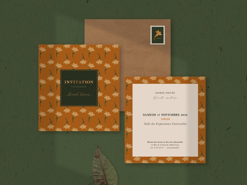 MTMAD Invitation vintage stamp pattern invitation stationary card flowers botanical texture gold nature illustration