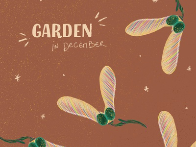 Garden in December font design handwriting font handwriten christmas pattern typography botanical texture flowers nature illustration