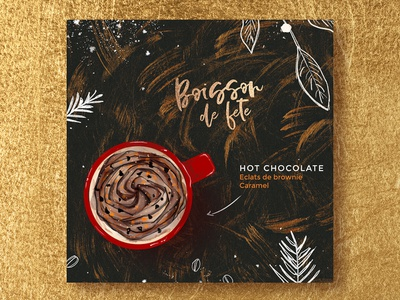Hot Chocolate nature food drinks chocolate christmas texture gold illustration coffee starbucks