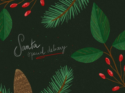 Santa Special Delivery santa christmas red bubble handlettering drawing green botanical nature illustration