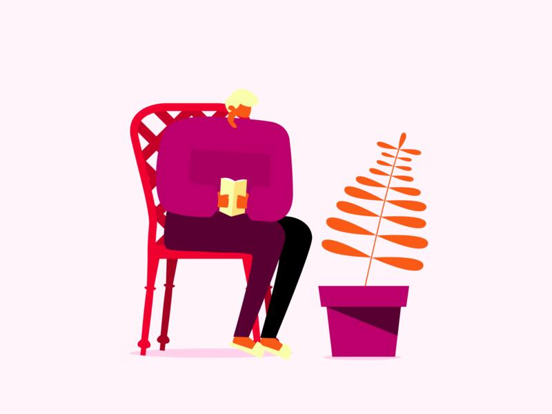 Avid Reader hero app art web tritone inkscape design vector flat illustration flat design