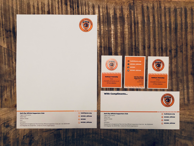 Hull City Official Supporters Club Stationery business cards letterheads hull city stationery graphic design