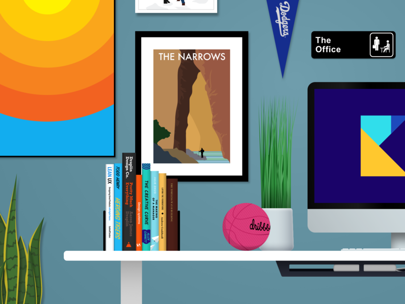 Illustration Exploration office desk dribbble illustration poster books