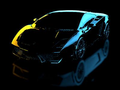 Lamborginhi Lighting Dribbble Shot c4d rendering high-poly details car 3d