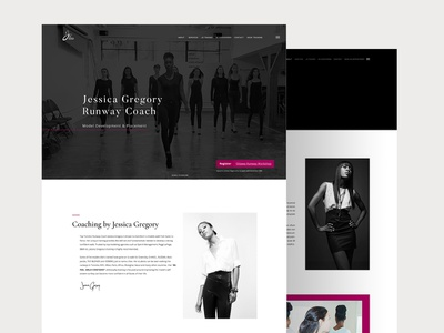 Jessica Geogory Runway Coach | Website Launch website websitedesign userinterface uidesigner uxdesigner muzli webflow photoshop dribbble model fashion