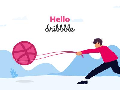 Hello Dribbble illustration dribbble ball 1st shot