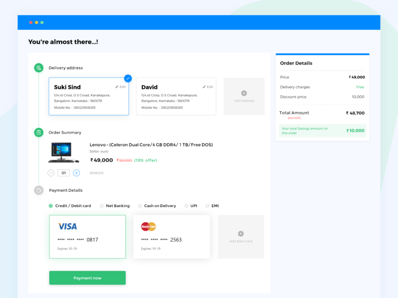 Checkout Page uiux shop ecommerce colors blue minimal purchase dailyui order summary payment checkout interaction interface design chennai ux ui