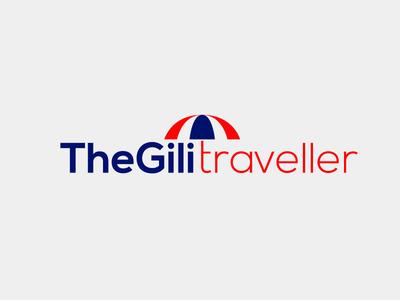 The Gili Traveler umbrella logo travel logo
