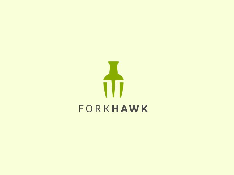 FORK HAWK LOGO. fork logo food logo