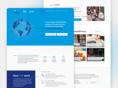 United Nations Tech Access Partnership Microsite web design desktop design desktop product design world health organization developing countries technology platform tech development design aerolab ux  ui ui ux microsite covid19 un covid united nations