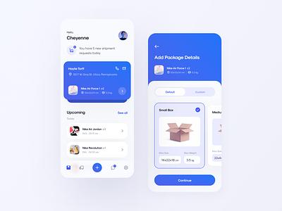 Shipping App mobile app product design mobile design app design shipping app figma ux design inspire design ui ui design