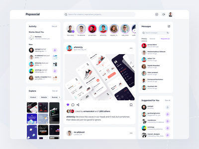 Piqosocial Web App user experience user interface app layout social media prototpe ux website app ui social app inspiration app design web app social network app figma ux design inspire design ui design ui