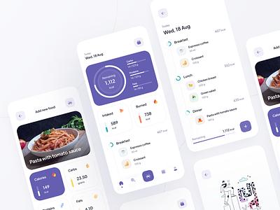 Nutrition App minimal user interface mobile app calories eat nutrition app design app ux design figma inspire design ui design ui