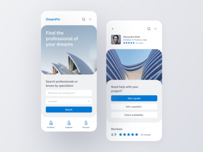 DreamPro App UI Design