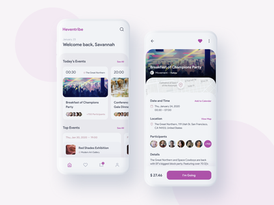 Heventribe Events App mobile ui mobile design app layout app ui mockup ui  ux cards event app uidesign ux user interface app design prototype figma app ux design ui design inspire ui design