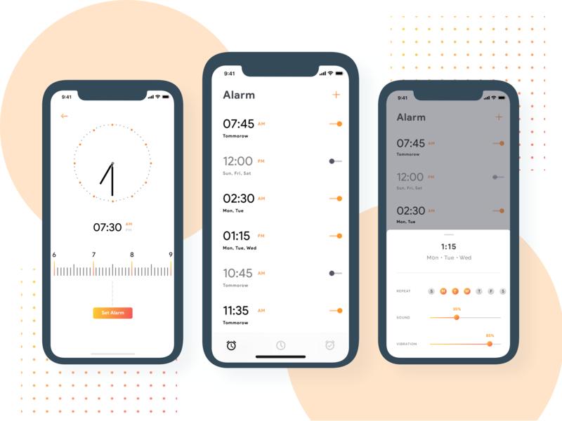 Alarm App - Concept gradient color iphonex illustration clean minimal ios ui timer alarm