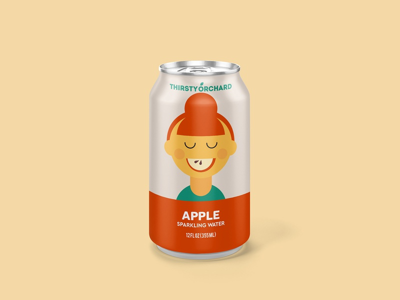 Thirsty Orchard: Apple apple slice slice mouth packaging package sparkling water beverage can drink apple