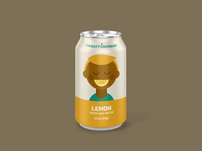 Sparkling Water: Lemon packaging design can drink beverage sparkling water illustration portrait lemons lemonade lemon slice lemon