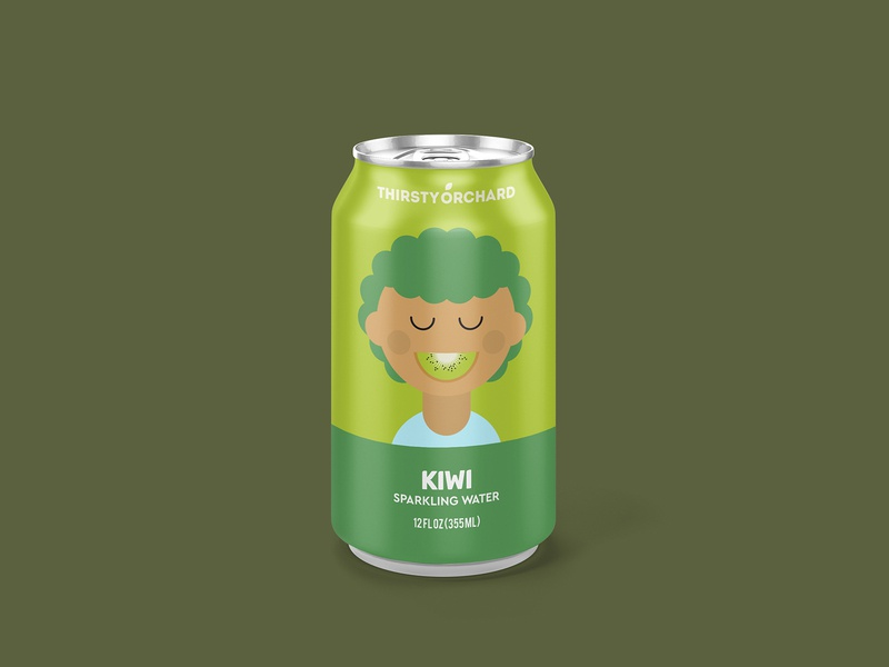 Sparkling Water: Kiwi sparkling water can beverage packaging curly hair portrait illustration kiwi
