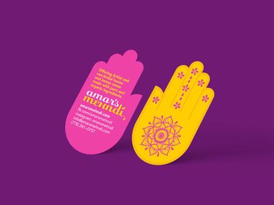 Die-cut Cards branding logo henna mehndi hand business cards diecut
