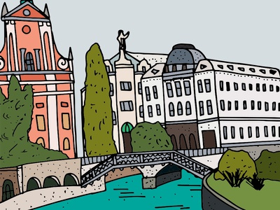 Slovenia hand drawn illustration architecture slovenia europe