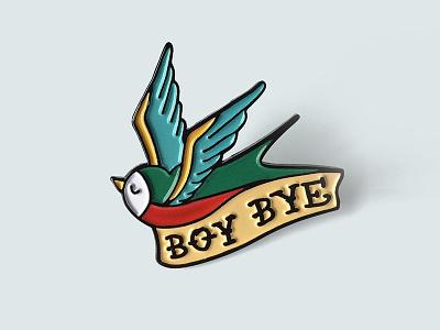 Boy Bye Enamel Pin beyonce lapel pin fly tattoo feminist classic tattoo bird boy bye soft enamel enamel pin