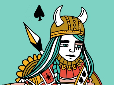 Skadi deck of cards spade queen of spades queen helmet viking norse mythology norse skadi
