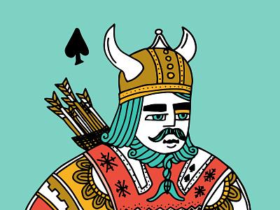 Ullr ski helmet moustache beard bow and arrow portrait illustration viking god of snow god