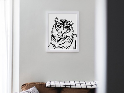 White Series: Tiger Print lineart bw black and white illustration fine art art tiger