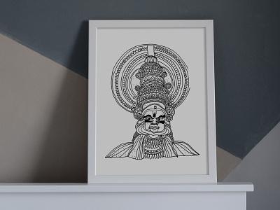 White Series: Kathakali dance india south asian indian dancer black and white bw illustration fine art