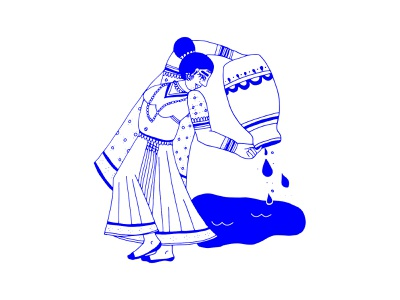 Aquarius portrait illustration india indian water woman zodiac aquarius