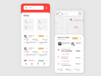 Ride app for operators card design ux product interface ui app uber ride