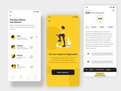 Test Study Practice school study quiz yellow white test mobile educational education card design ui app product interface