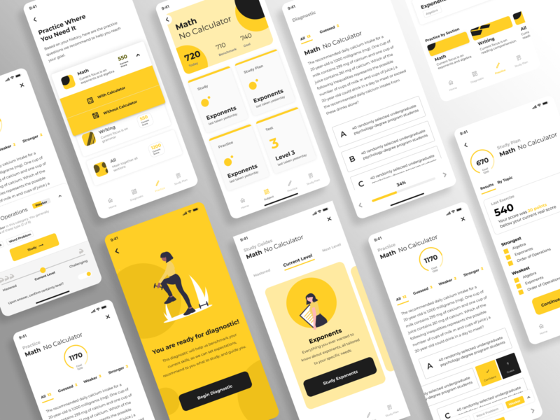 Test Prep wireframe yellow white ux ui school test quiz product mobile interface educational education dashboard card design app
