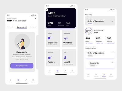 Study App friendly clean purple white ui quiz app test study school quiz product mobile interface educational education app design card app