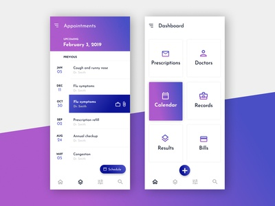 Medical Clinic App ui interface product app dashboard ux card design ux  ui wireframe mobile medical doctor calendar schedule appointment to do