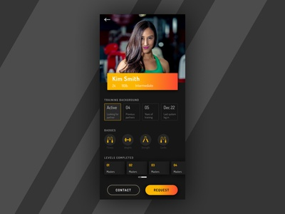 User Profile - Daily UI 006 mobile learning user profile gym self defense martial arts training fitness card dark app product interface ui ux daily ui